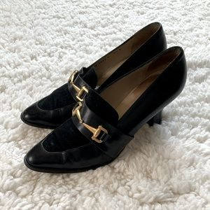 Gucci Buckle Suede and Leather Heels